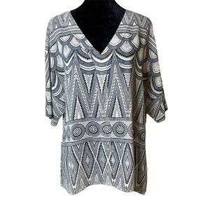 H&M Boho Geometric Sheer Chiffon Blouse